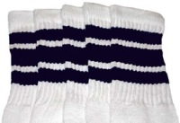Knee high socks with Navy Blue stripes