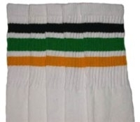 Knee high socks with Black-Green-Gold stripes