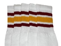 Knee high socks with Maroon-Gold stripes