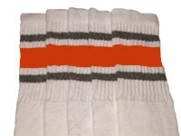 Knee high socks with Grey-Orange stripes