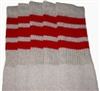 Knee high Grey socks with Red stripes