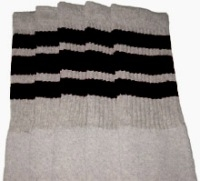 Knee high Grey socks with Black stripes