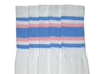 Knee high socks with Baby Blue-Baby Pink stripes