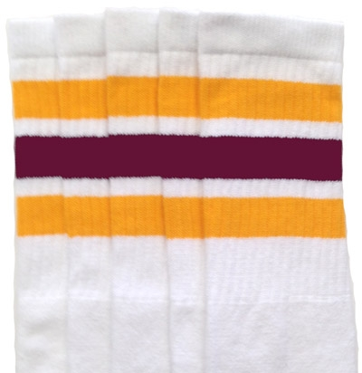 3c26c8fc5 Knee high White tube socks with Gold-Maroon stripes