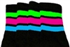 Knee high socks with Neon Green-Hot Pink-Baby Blue stripes