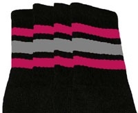 Knee high socks with Hot Pink-Grey stripes