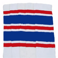 Knee high socks with Red-Royal Blue stripes