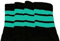 Knee high socks with Aqua stripes