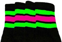 Knee high socks with Neon Green-Hot Pink stripes