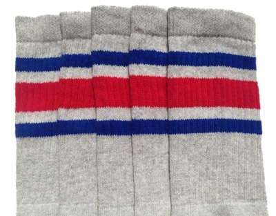 Knee high Grey socks with Royal Blue-Red  stripes