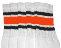 afa660824 Knee high White tube socks with Black-Orange stripes style 3