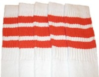Knee high socks with Orange stripes