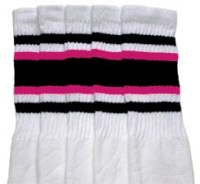 8a6bfd688 Knee high White tube socks with Black-Hot Pink stripes style 4