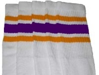 Knee high socks with Gold-Purple stripes
