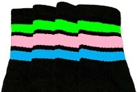 Knee high socks with Neon Green-Baby Pink-Baby Blue stripes