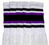 Knee high socks with Black-Purple stripes
