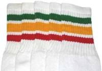 Over the knee socks with Green-Gold-Red stripes