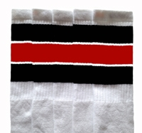 Over the knee socks with Black-Red stripes