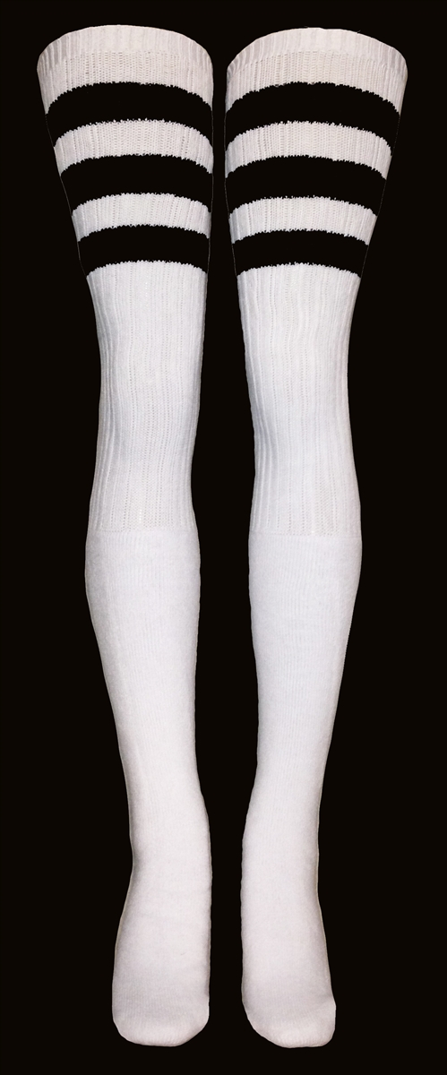 894525b42 Thigh high White tube socks with Black stripes