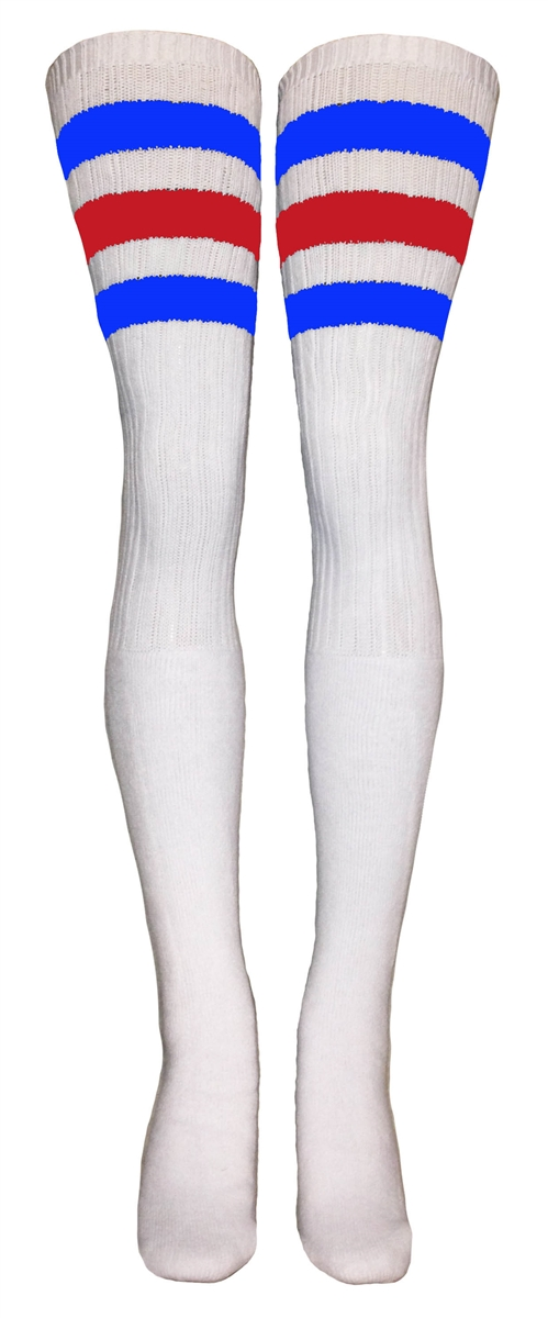 d946ba3cab2ac Thigh high White tube socks with Royal Blue and Red stripes ...