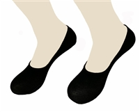Womens MEDIUM Black Italian cotton no show sock liner with Anti-slide
