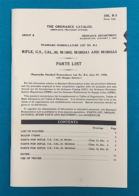 Book Parts Manual SNL B-3 M1903 and M1903A3
