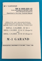 Book Manual Operator TM 9-1005-222-12 M1 Garand