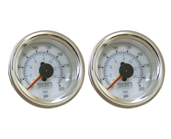 [2] Pack Viair 220 Psi Dual Needle White Face Gauge with Back Light 90081, sold as pair!