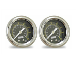 "[2] Pack Viair 1.5"" Diameter  160 Psi Single Needle Gauge Black Face 90085 (No Backlight), sold as pair!"