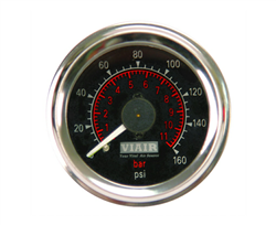 Viair 160 Psi Dual Needle Black Face Gauge with Back Light 90082, sold each!