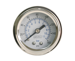 "Viair 2"" Diameter 160 PSI Single Needle White Face Air Gauge 90087 (with Back Light), sold each!"
