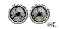 [2] Pack AVS Dual Needle Air Gauge Silver Face 200 PSI Max with different Color LED, Sold each!