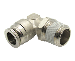 "1/2"" Hose X 1/2"" NPT 90 Degree Nickel Plated Brass Connector Swivel Elbow."