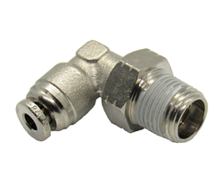"1/8"" Hose X 1/8"" NPT 90 Degree Nickel Plated Brass Connector Swivel Elbow."