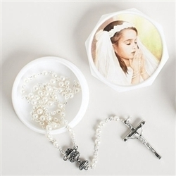 Communion silver rosary
