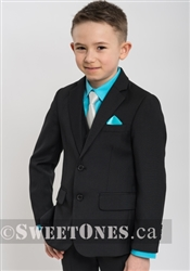 Boys black slim fit 2 piece suit(6y-10y)– Style B-Angelo-BK