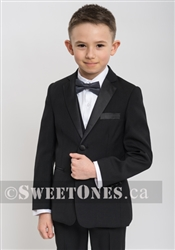 Boys black tuxedo slim fit 3 piece suit (1y-10y)– Style B-Angelo-TX