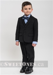 Boys black slim fit 2 piece suit(1y-5y)– Style B-Angelo-BK
