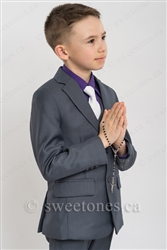 First Communion gray slim fit 2 piece suit(6y-10y)– Style B-Angelo-GY