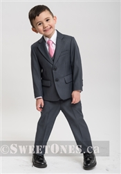 Boys gray slim fit 2 piece suit (1y-5y)– Style B-Angelo-GY