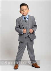Boys light gray slim fit 2 piece suit (1y-5y)– Style B-Angelo-LGY