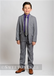 Boys light gray slim fit 2 piece suit (6y-10y)– Style B-Angelo-LGY