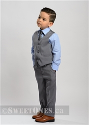 Boys light gray slim fit waistcoat suit– Style B-Angelo
