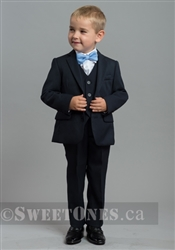 Boys navy blue slim fit 2 piece suit (6M-5Y) – Style B-Angelo-NV