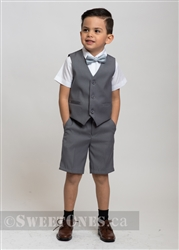 Boys light gray waistcoat and short pants suit– Style B-Angelo