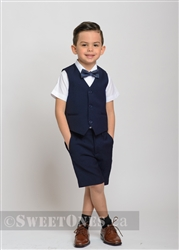 Boys navy blue waistcoat and short pants suit– Style B-Angelo