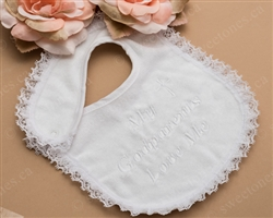 white cotton embroidered Baptism bib