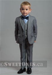 Boys light gray slim fit 2 piece suit (1y-5y)– Style B-Chris-LGY