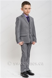 Boys light gray slim fit 2 piece suit (6y-10y)– Style B-Chris-LGY