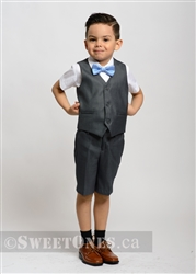 Boys gray waistcoat and short pants suit– Style B-Chris